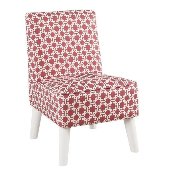 Lattice Print Fabric Upholstered Kids Slipper Chair With Splayed Wooden Legs, Pink And White