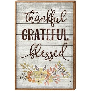 """American Woodcrafters 16""""X24"""" Framed Wood Sign-Thankful, Grateful, Blessed"""