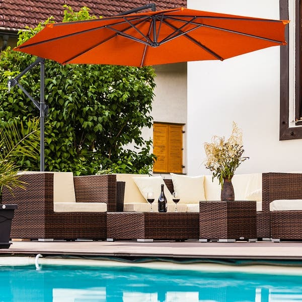 Costway 10 Ft Hanging Umbrella Patio Sun Shade Offset Outdoor Market Overstock 28975588