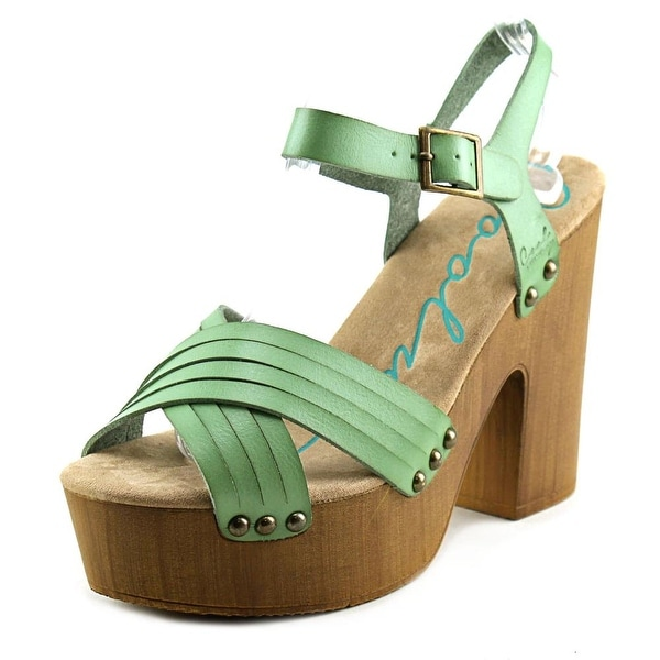 Coolway Cohen Women Open Toe Leather Green Platform Sandal