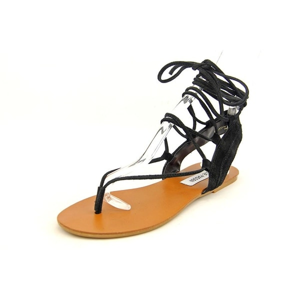 Steve Madden Walkitt Women Open Toe Suede Black Gladiator Sandal