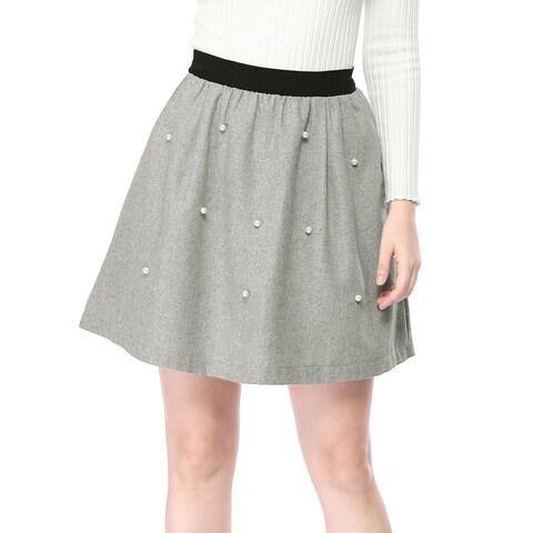 Allegra K Women's A-Line Flared Swing Skater Skirt - Gray