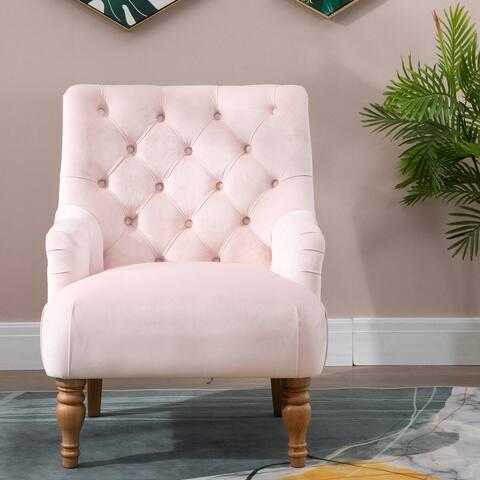 Moda Velvet Modern Accent Chair Tufted Arm Club Chair Single Sofa with Wooden Legs