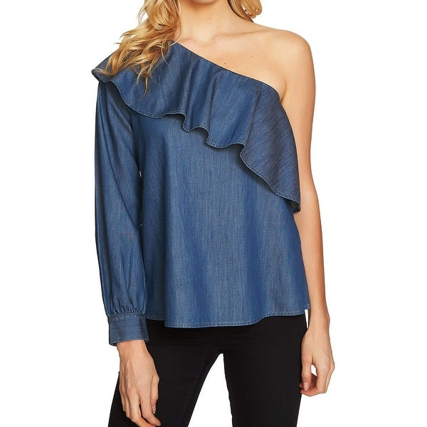 CeCe Blue Womens Size XL Chambray Ruffled One-Shoulder Blouse
