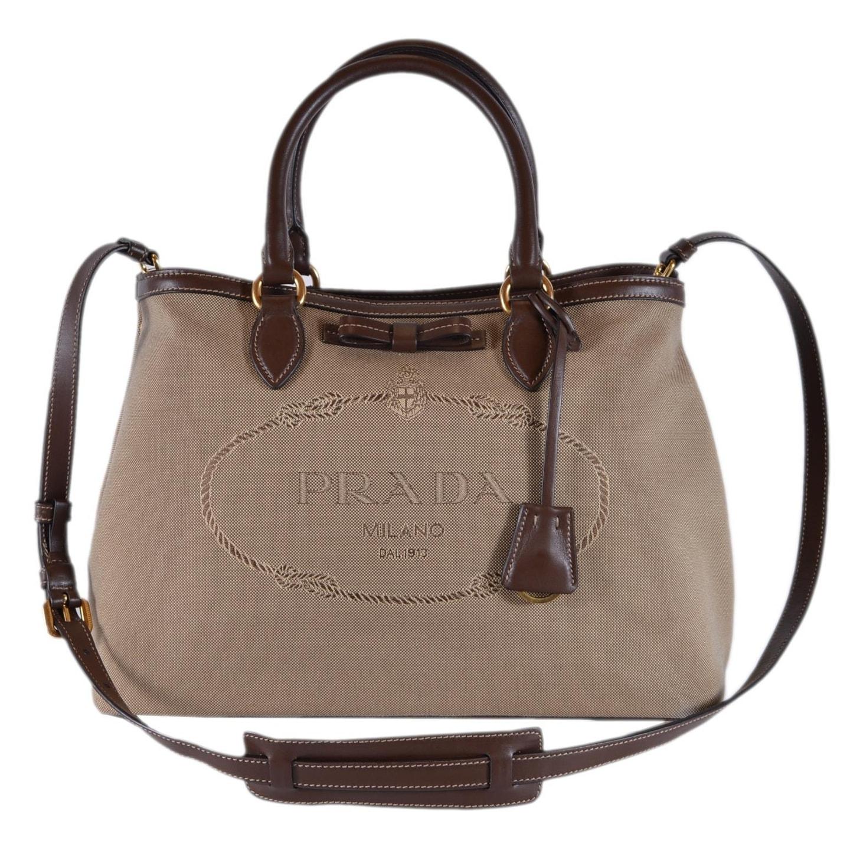 Prada 1ba579 Borsa A Mano Logo Jacquard Convertible Handbag Purse Bag Beige Brown