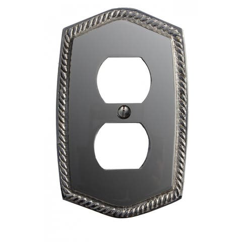 """Renovators Supply 5 1/16 H"""" x 3 3/16'' Chrome Finish Roped Cover Single Switch Plate - Silver"""
