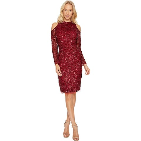 Adrianna Papell Cold Shoulder Crunchy Bead Cocktail Dress, Cranberry, 10