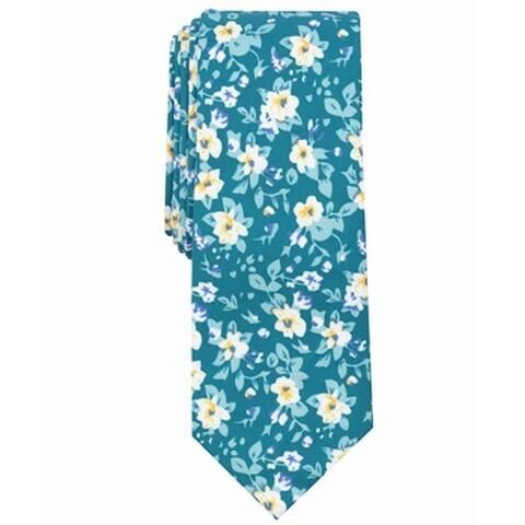 Bar III Mens Blue Savannah Floral Skinny Slim Neck Tie Cotton Accessory