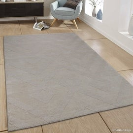 "AllStar Rugs Ivory Area Rug. Hand Made High-End Extra Soft Natural Wool with Hand Craving Designs (7' 11"" x 9' 11"")"
