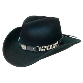 Jack Daniels Chain Link Shapeable Soft Wool Cowboy Hat - Black JD03-105