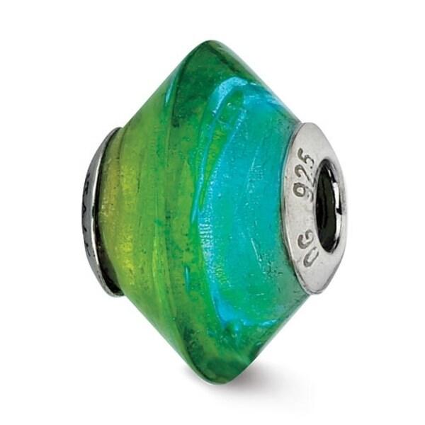 Italian Sterling Silver Reflections Blue & Green Glass Bead (4mm Diameter Hole)