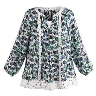 Women's Blue Lili Blouse - Floral Print Lace Fashion Top