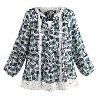Women's Blue Lili Blouse - Floral Print Lace Fashion Top (2 options available)