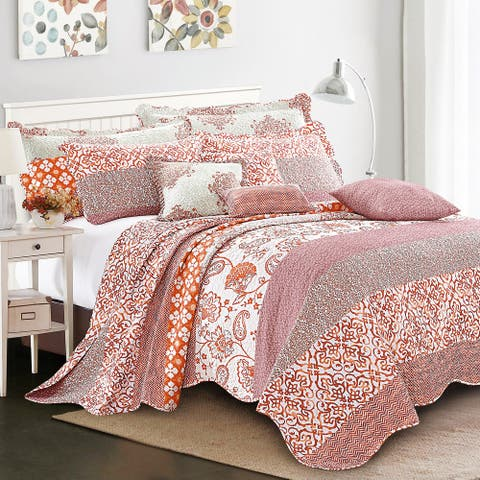 Serenta 9-pc. Cal King Printed Striped Cotton Blend Bedspread Coverlet Set