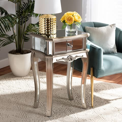 Elgin Glam and Luxe Brushed Wood and Silver Mirrored Glass Nightstand