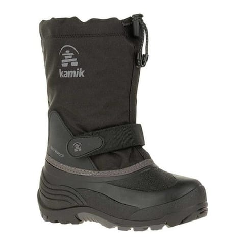 Kamik Boys' Waterbug5 Boot Black/Charcoal Waterproof 600 Denier Nylon