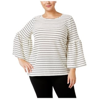 Calvin Klein Womens Plus Pullover Top Striped Bell Sleeves