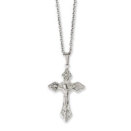 Chisel Stainless Steel Crucifix Pendant 18in Necklace (2 mm) - 18 in