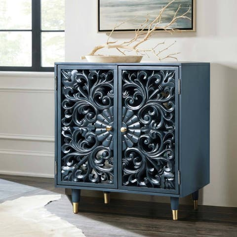 """Solid Wood Hollow 2-Door Accent Cabinet Peacock Blue Storage Shelf for Living/ Dining Room - W17.5""""x L30""""x H35.5"""""""