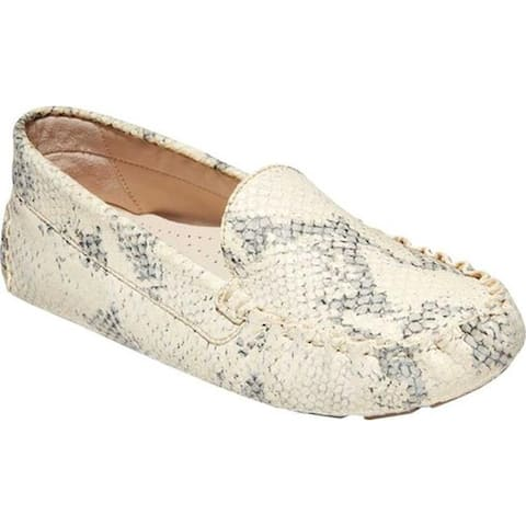 Cole Haan Women's Evelyn Driver Chalk Python Print Leather