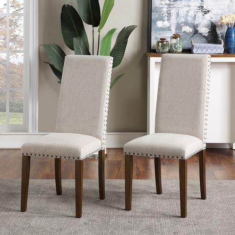 Wood Upholstered Dining Chairs(Set of 2)