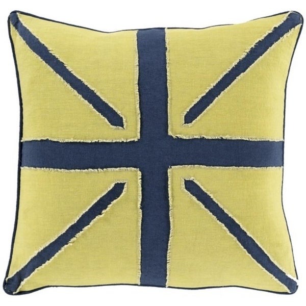 """22"""" Navy Blue and Lime Green Square Hand-Made Decorative Throw Pillow"""