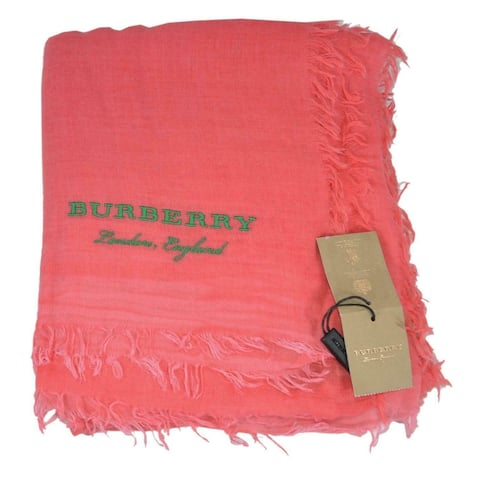 """Burberry Bright Coral Cashmere Cotton Large Scarf Shawl Wrap - 76.5"""" x 55"""""""