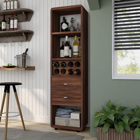 Furniture of America Sity Transitional Walnut Wine Cabinet
