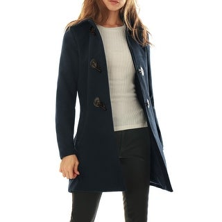 Women Turn Down Collar Slant Pockets Longline Toggle Coat - Blue