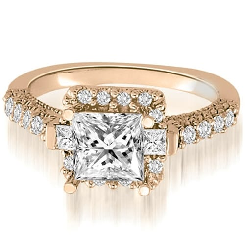 1.50 cttw. 14K Rose Gold Halo Princess And Round Diamond Engagement Ring