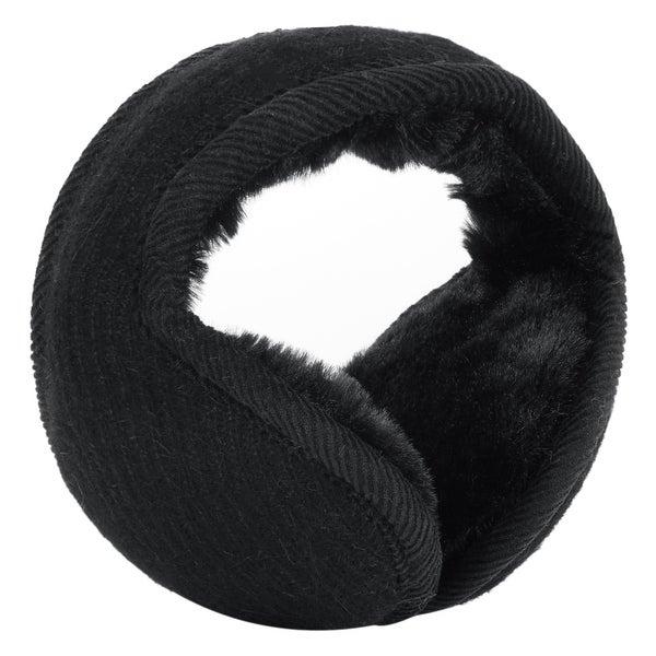 Warm Foldable Winter Knit Earmuffs for Women Men Black-4