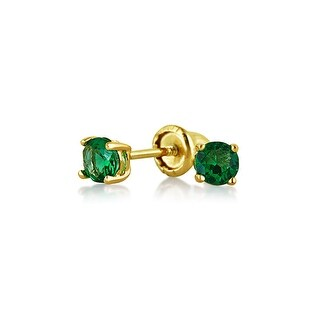 Bling Jewelry Green CZ Baby Screwback Studs 14K Gold 3mm