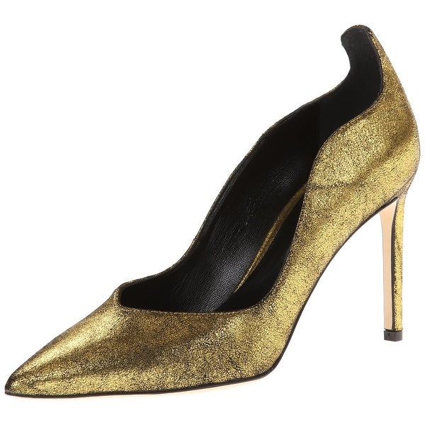Delman NEW Gold Women's Shoes Size 9.5M Brie Metallic Suede Pump