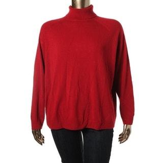 Karen Scott Womens Plus Knit Ribbed Trim Turtleneck Sweater - 2X
