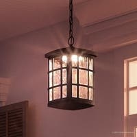 "Luxury Craftsman Outdoor Pendant Light, 15""H x 9.5""W, with Tudor Style, Black Silk Finish"