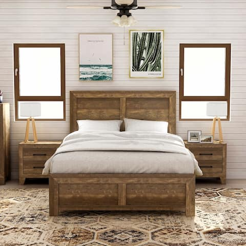 Furniture of America Loa Walnut 3-piece Bedroom Set with 2 Nightstands