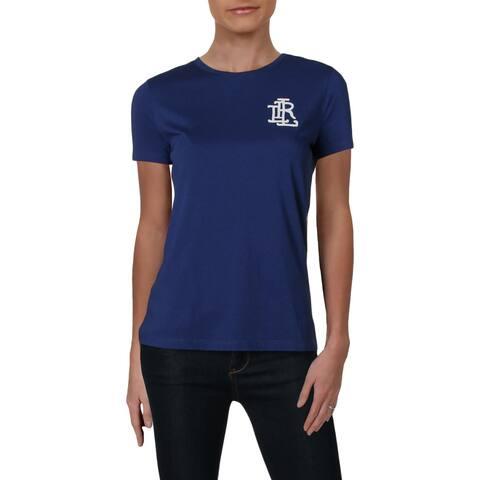 Lauren Ralph Lauren Womens Logo T-Shirt Beaded Crew Neck