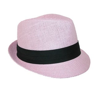 Jeanne Simmons Kids' Straw Pleated Band Easter Fedora Hat
