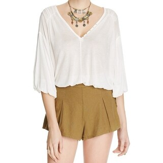 Free People NEW Green Womens Size Medium M Pleated Lace-Up Shorts