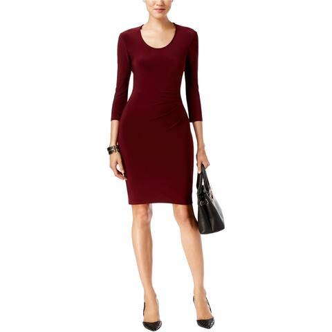 Anne Klein Womens Ruched Sheath Dress, red, 2