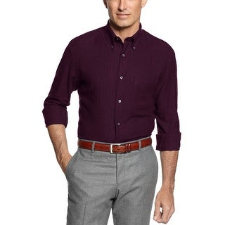 John Ashford Herringbone Flannel Button-Down Shirt Red Plum Cotton