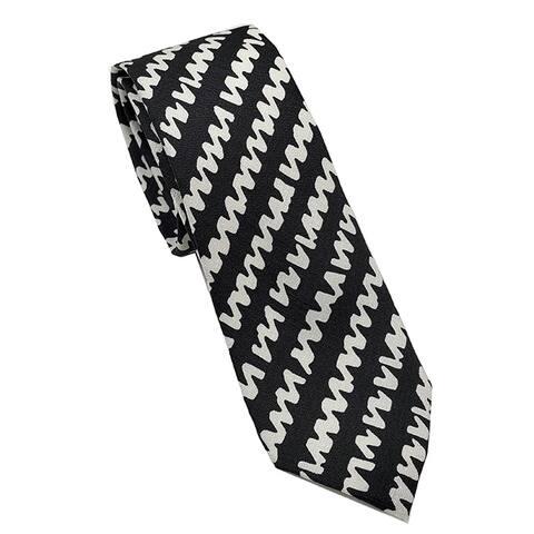 Burberry London Stanfield Black White Geometric Skinny Neck Tie