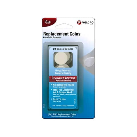 91645 velcro removable replacement coin 25lb 24pc wht