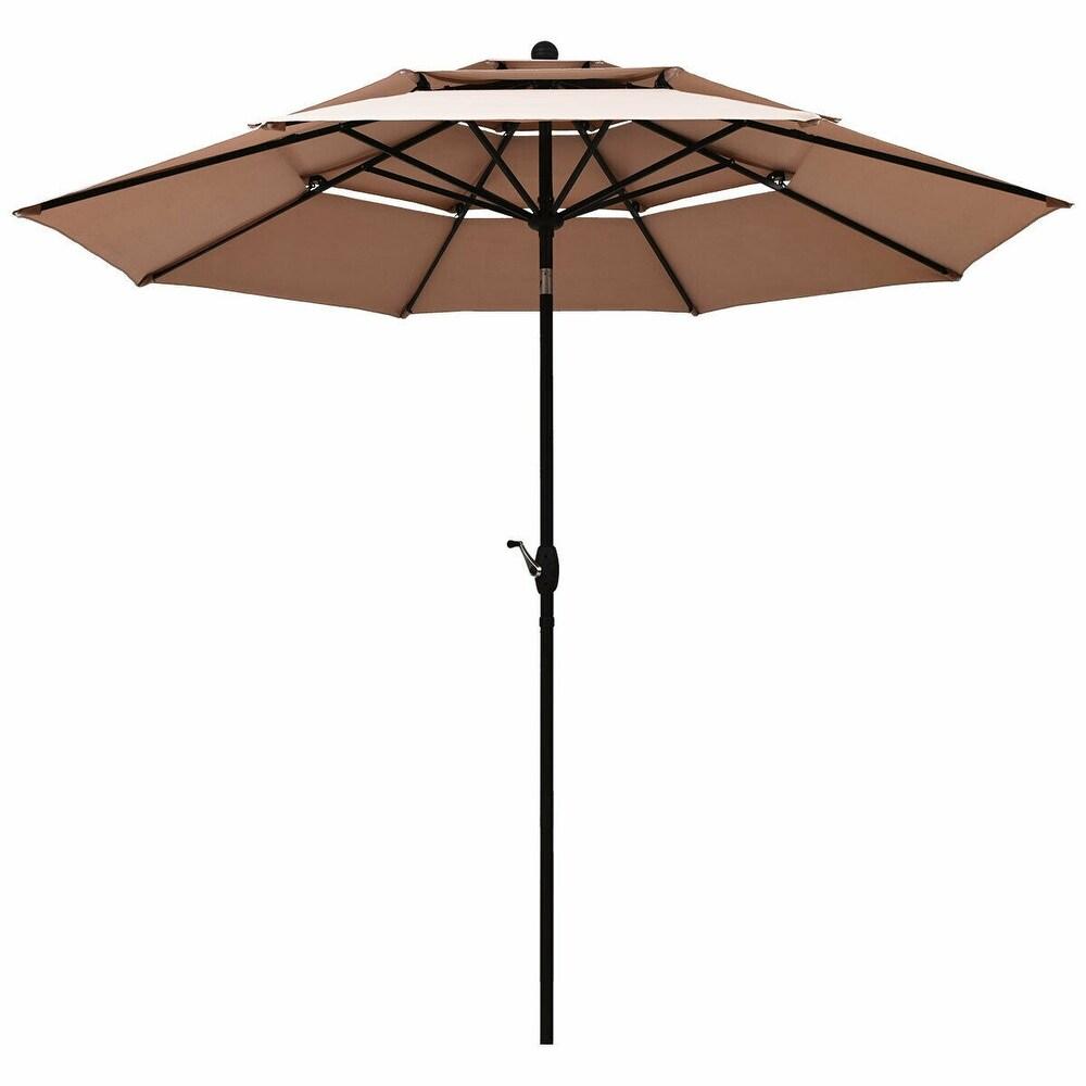 10ft 3 Tier Patio Umbrella Aluminum Sunshade Shelter Double Vented Beige (Beige)
