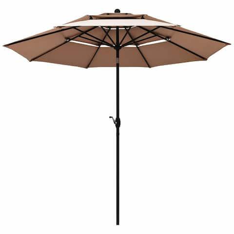10ft 3 Tier Patio Umbrella Aluminum Sunshade Shelter Double Vented-Beige