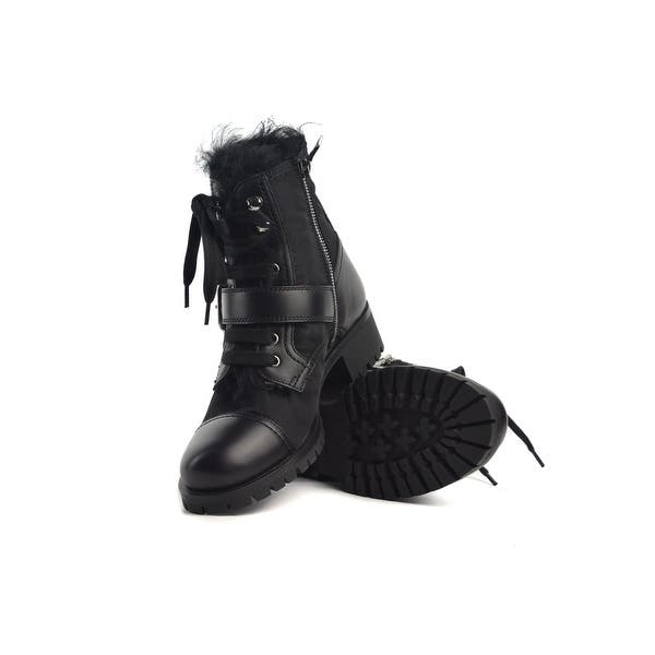 a7338a7641b92 Shop Prada Womens Black Leather Cap Toe Lace Up Combat Boot - Free ...