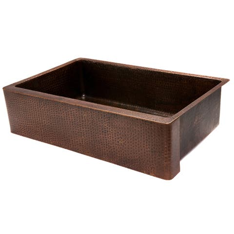 Premier Copper Products KASDB35229 35-inch Hammered Copper Apron Front Single Basin Kitchen Sink