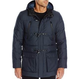 Calvin Klein NEW Navy Blue Mens Size 2XL Hooded Quilted Toggle Coat
