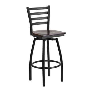 Offex HERCULES Series Black Ladder Back Swivel Metal Barstool - Walnut Wood Seat