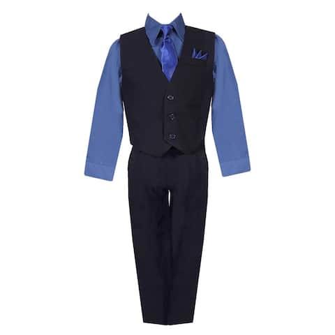710767d64 Boys Black Navy Shirt Vest Pants Neck Tie Pocket Hanky 5 pcs Suit 8-20
